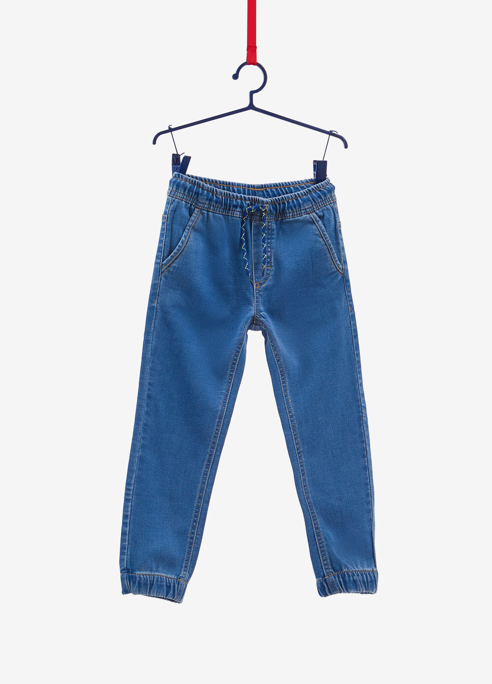 Jogger-fit stretch jeans with drawstring