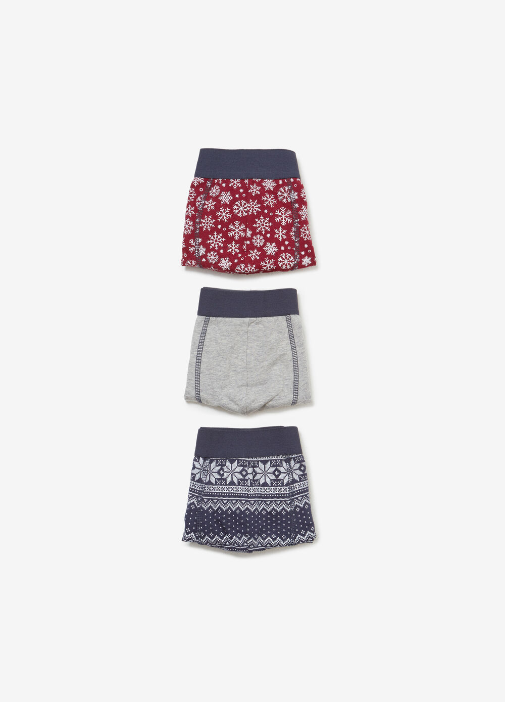 Three-pack solid colour and Christmas patterned stretch cotton boxer shorts