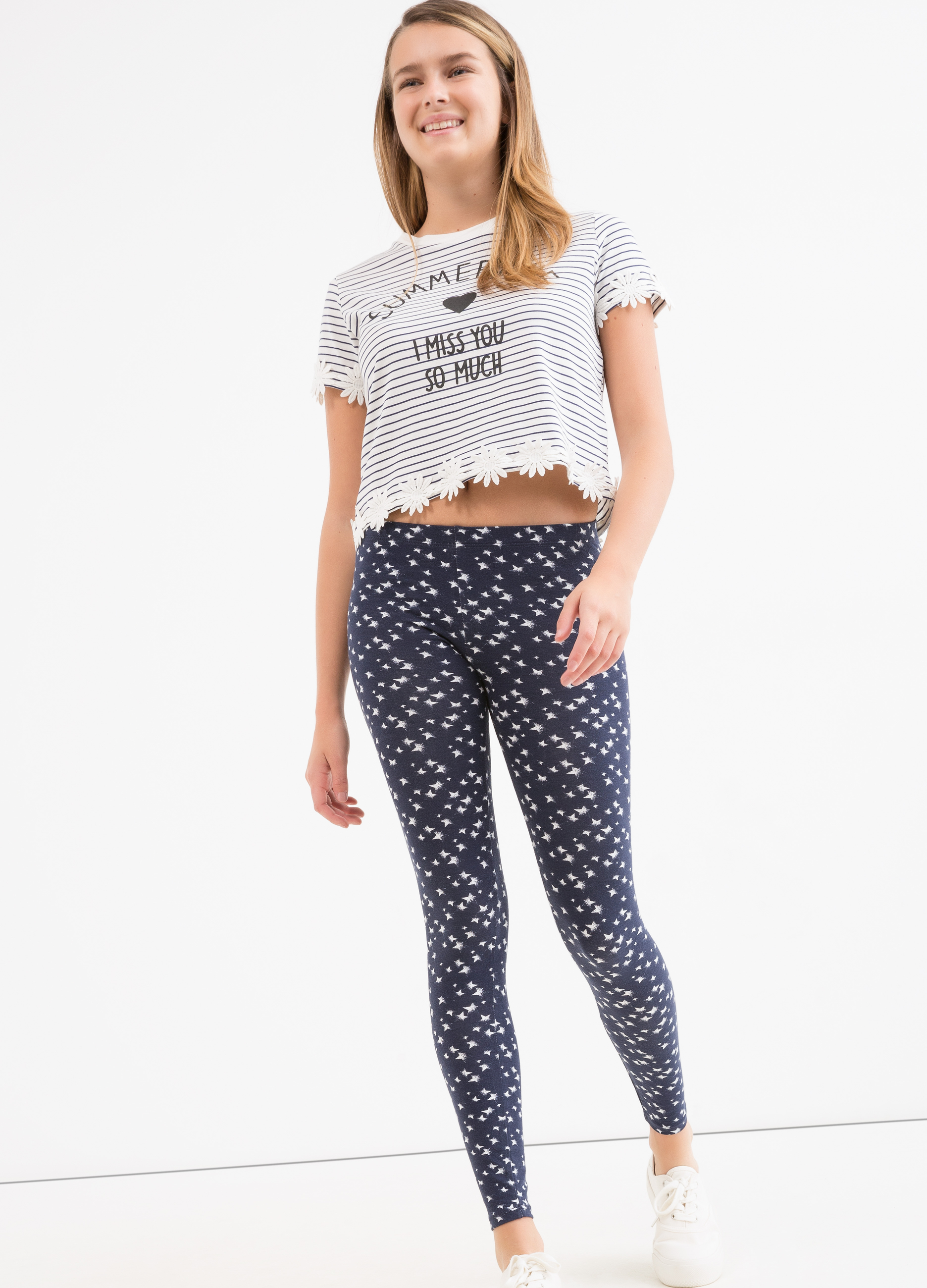 Printed stretch cotton Teen leggings | OVS