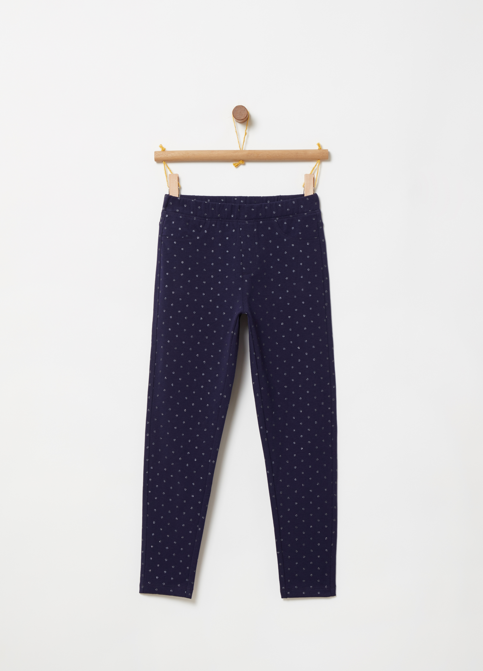 cbb9168f09476 French terry jeggings with all-over print | OVS