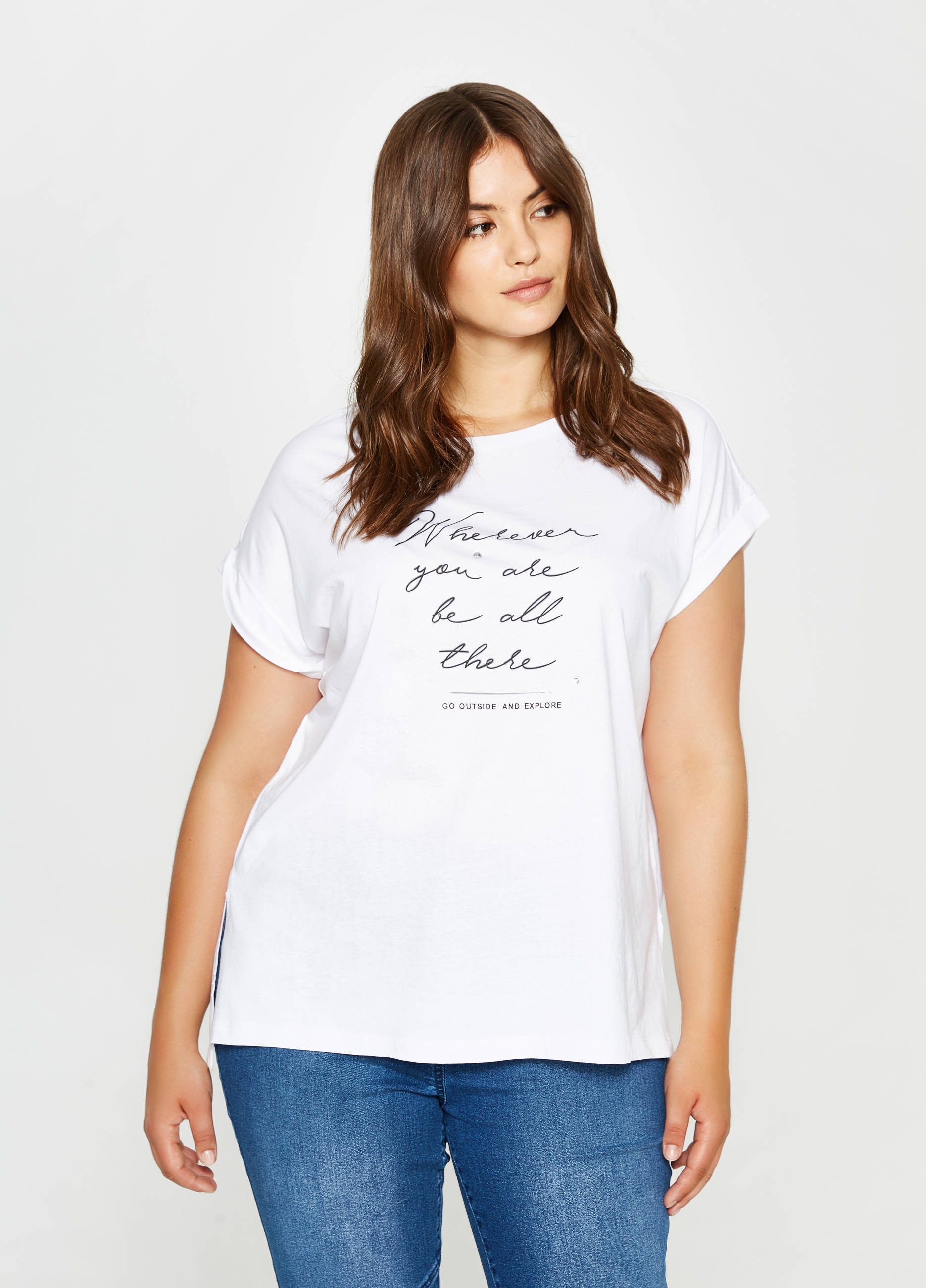 2aacd157d5a Curvy cotton T-shirt with printed lettering