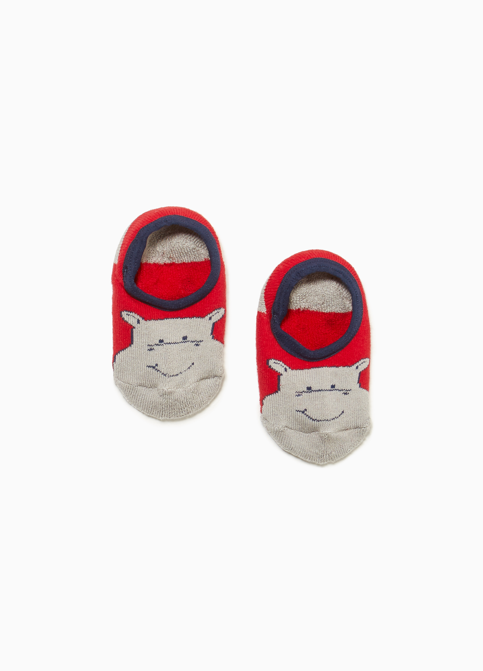 Hippopotamus embroidered slipper socks