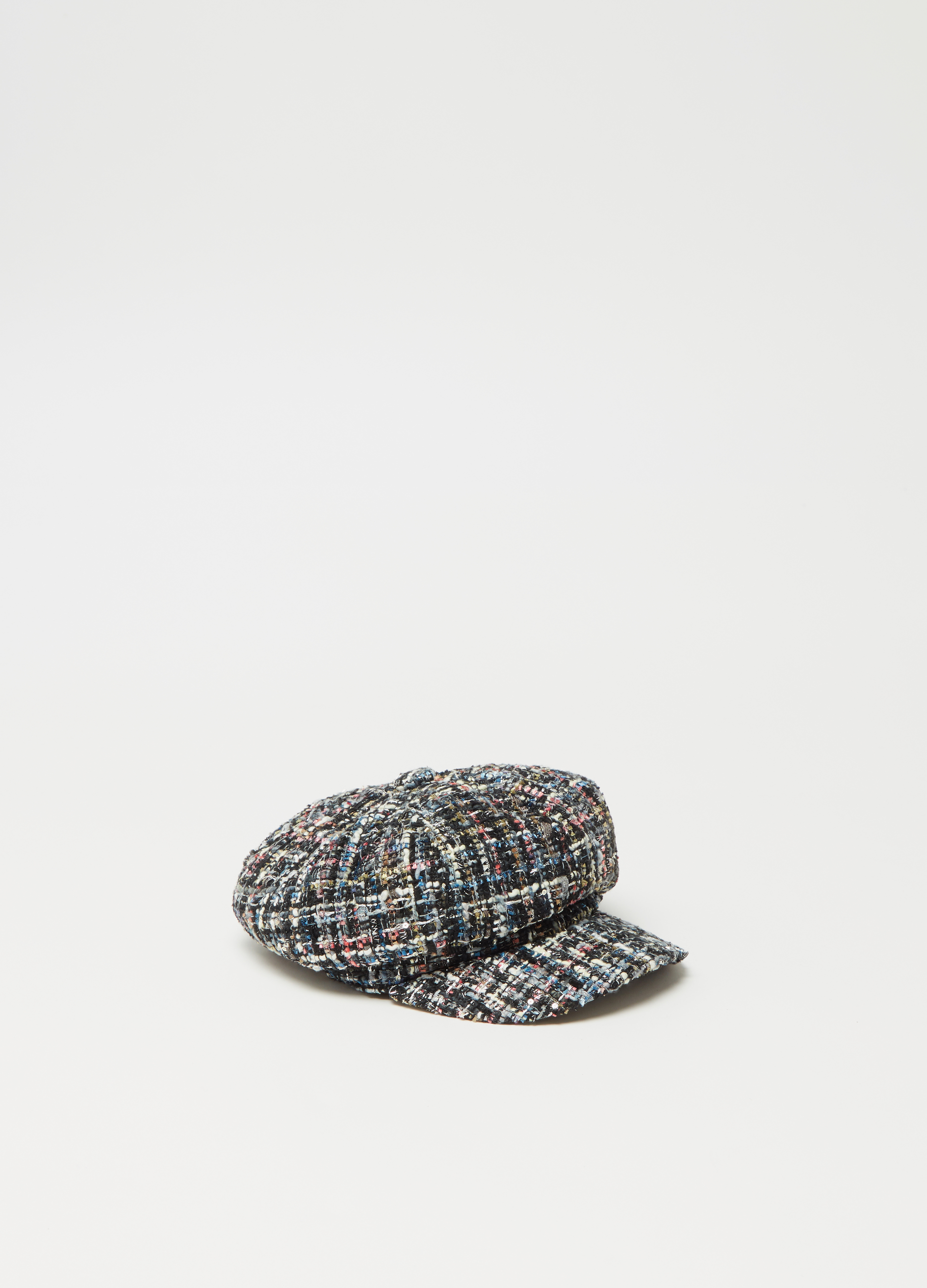 Multicoloured tweed baker boy hat with pattern  103374c368d