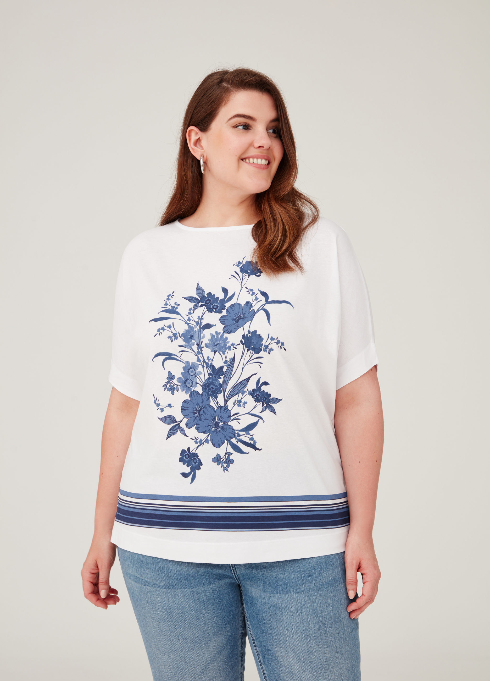 60221f56e1f Curvy T-shirt with stripes and floral print   OVS