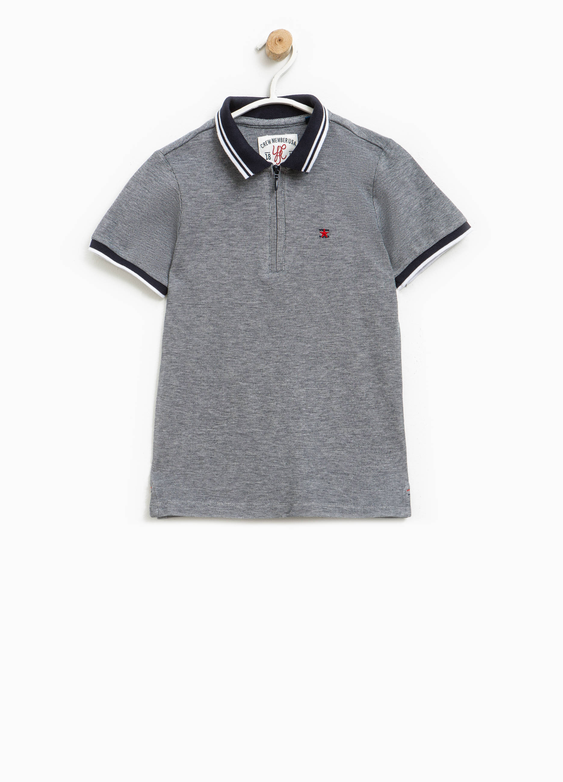 9f4cf341d6ef73 100% cotton polo shirt with zip and embroidery