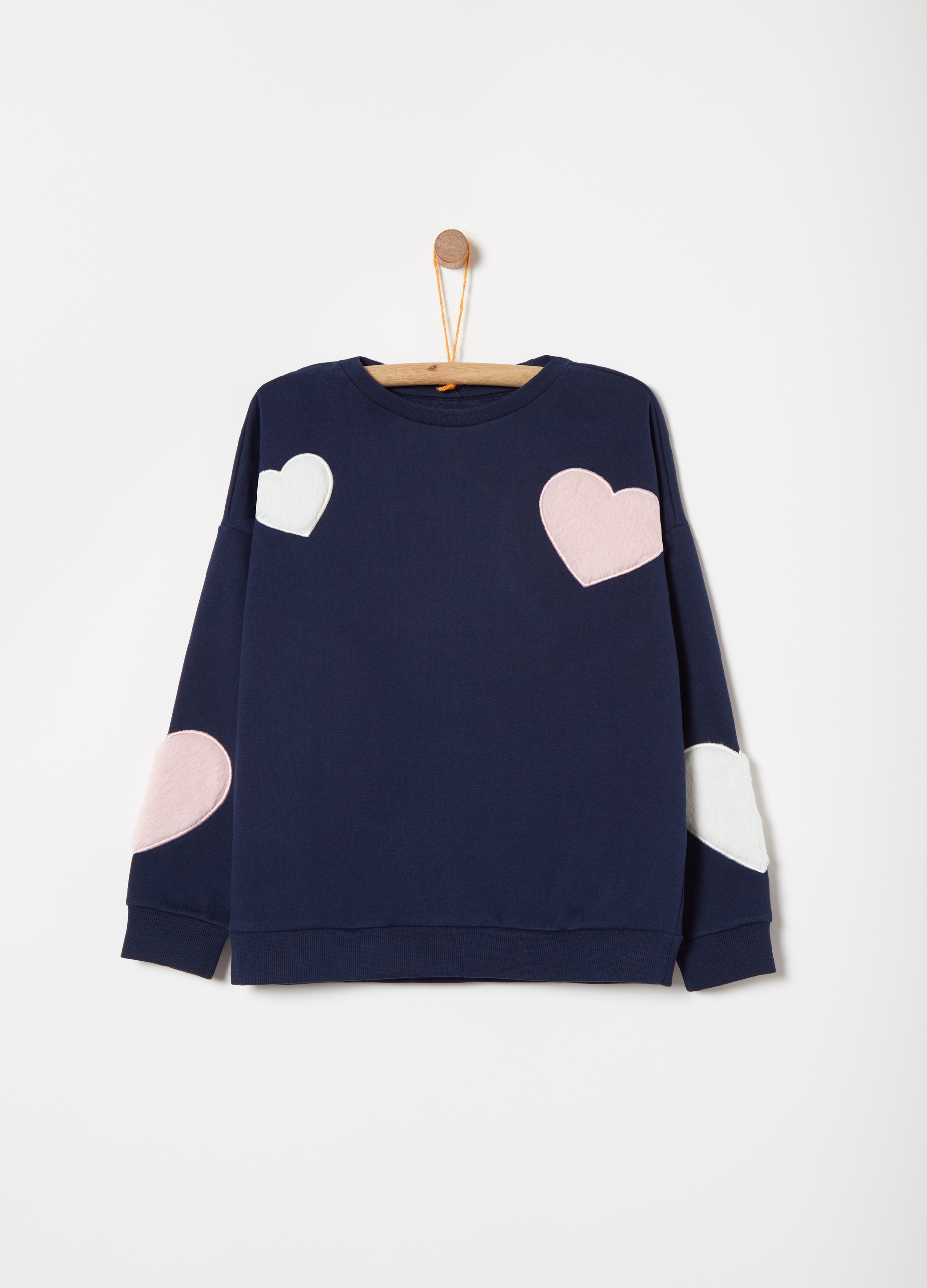08b3674b Cotton blend sweatshirt with heart applications | OVS