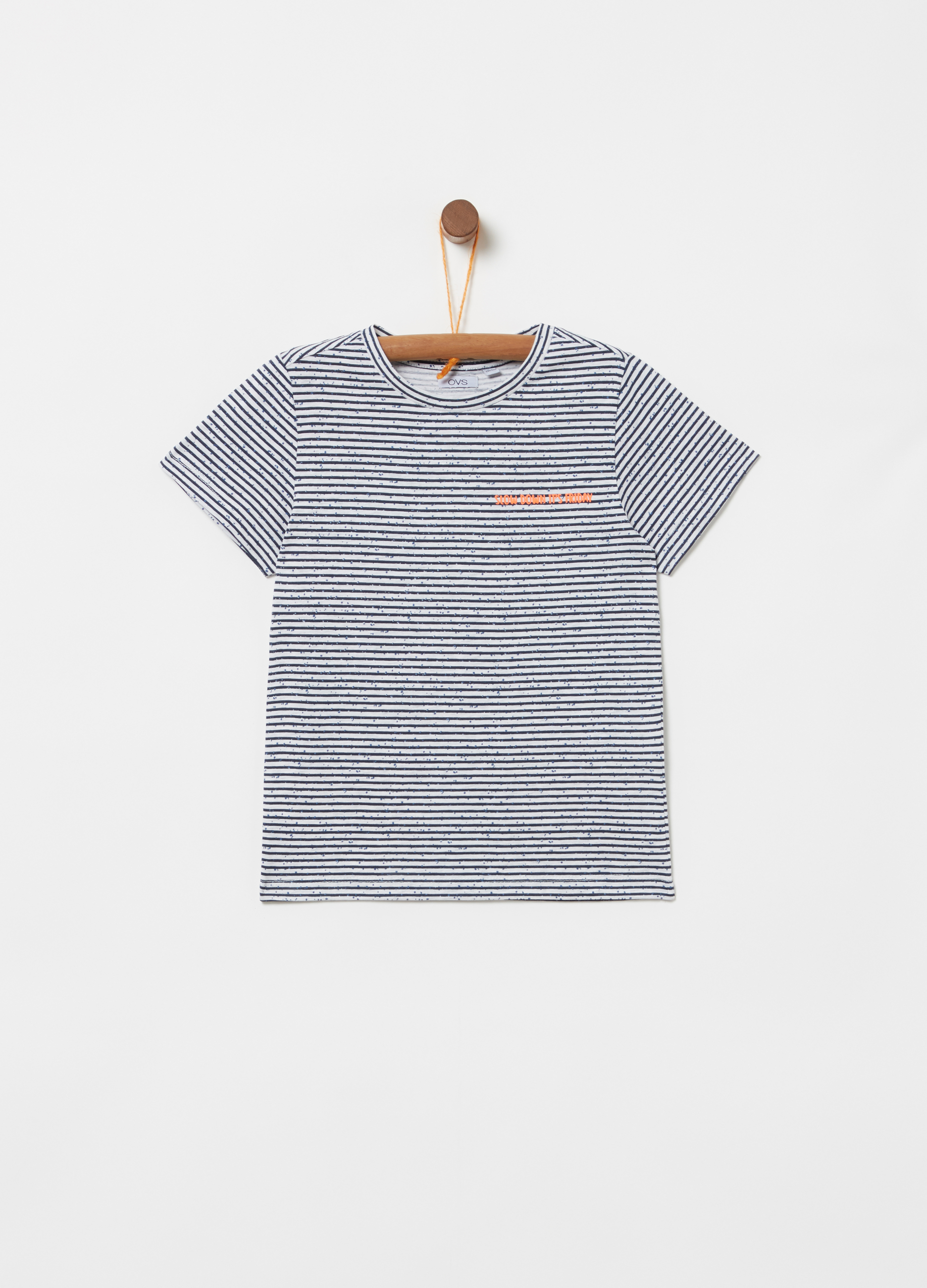 eecf21cb1 100% cotton T-shirt with all-over stripe print | OVS