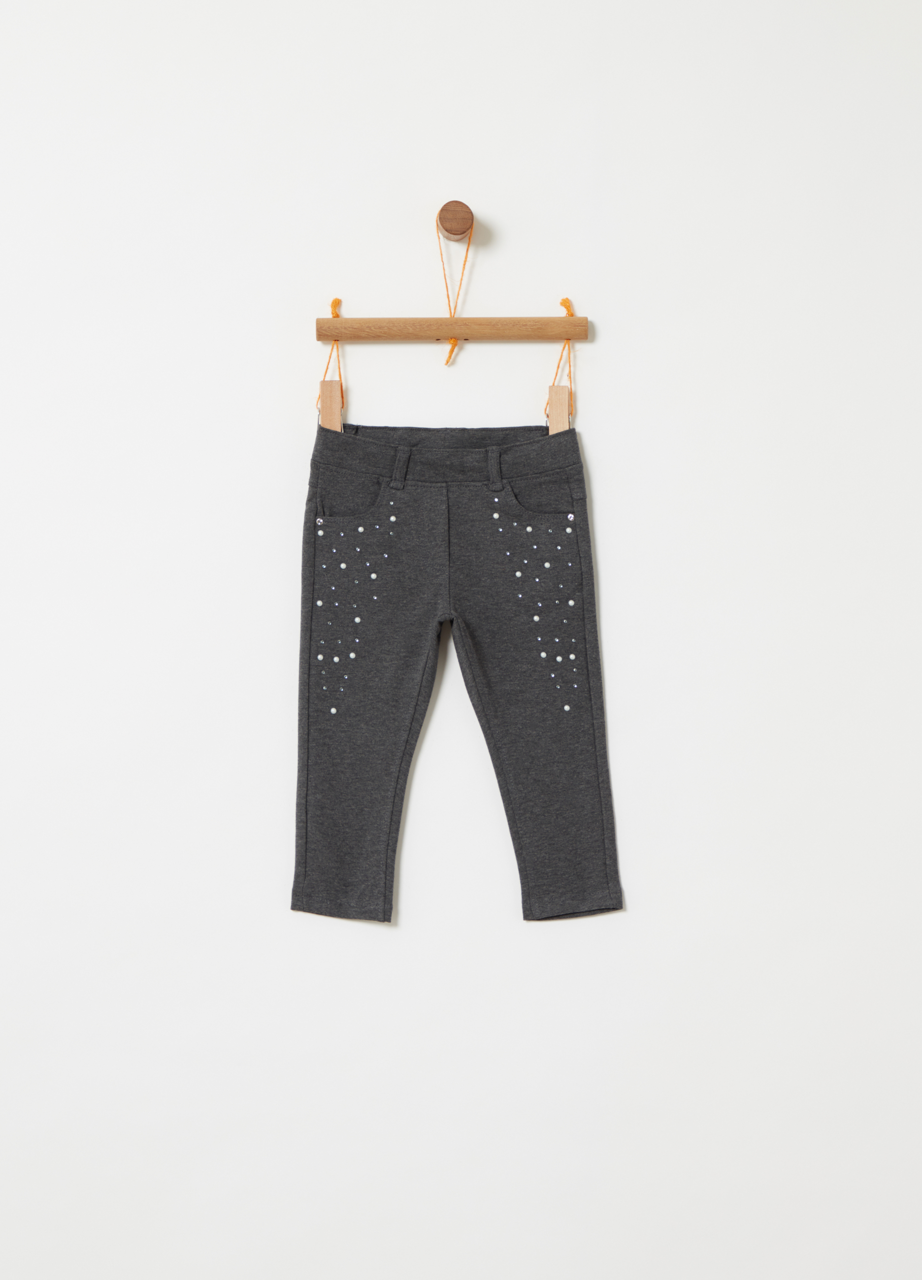 96acd906d6f20 French Terry jeggings with diamantés and beads | OVS