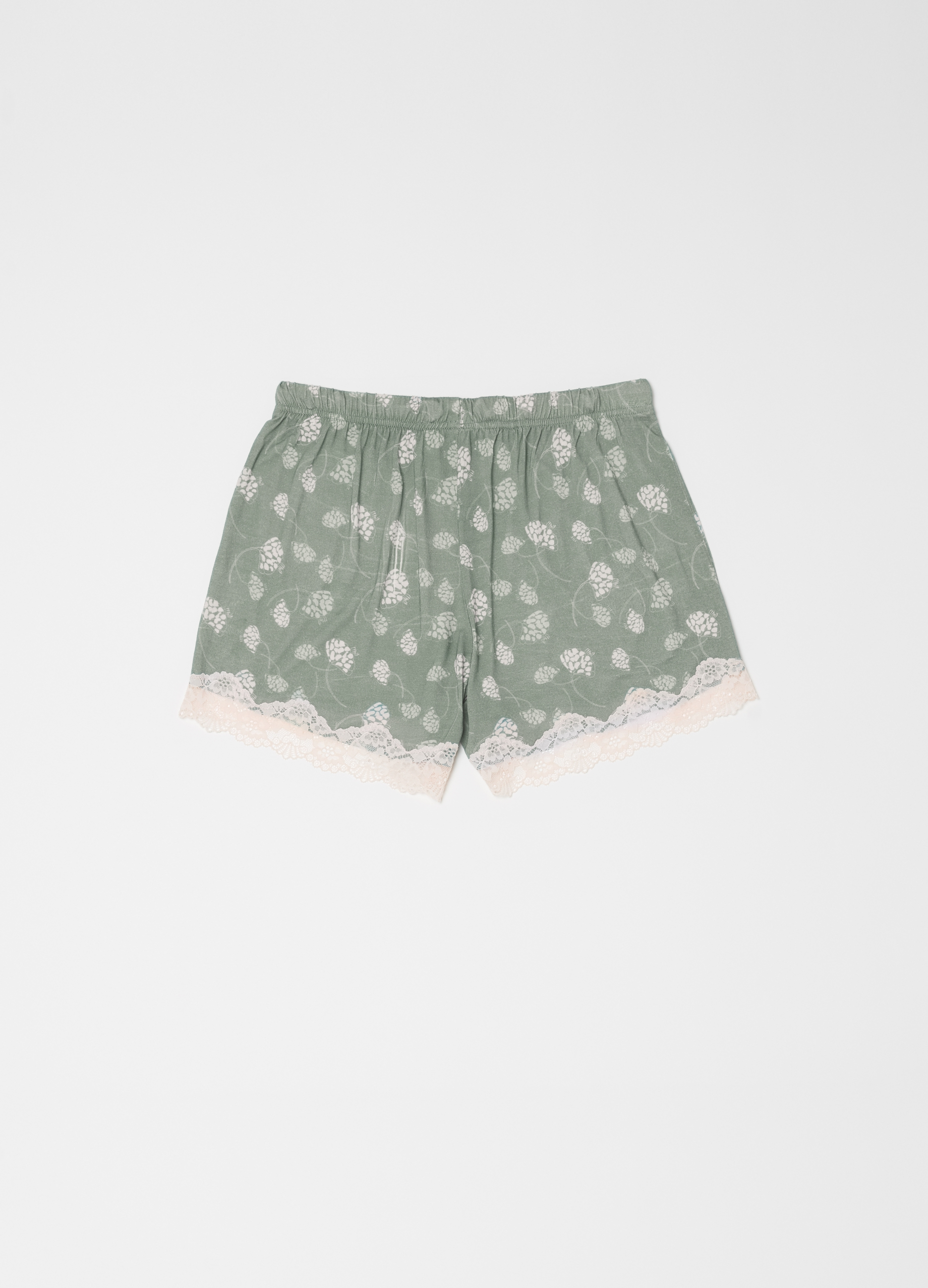 db01120e62d55 Jersey pyjama shorts with pattern and lace | OVS