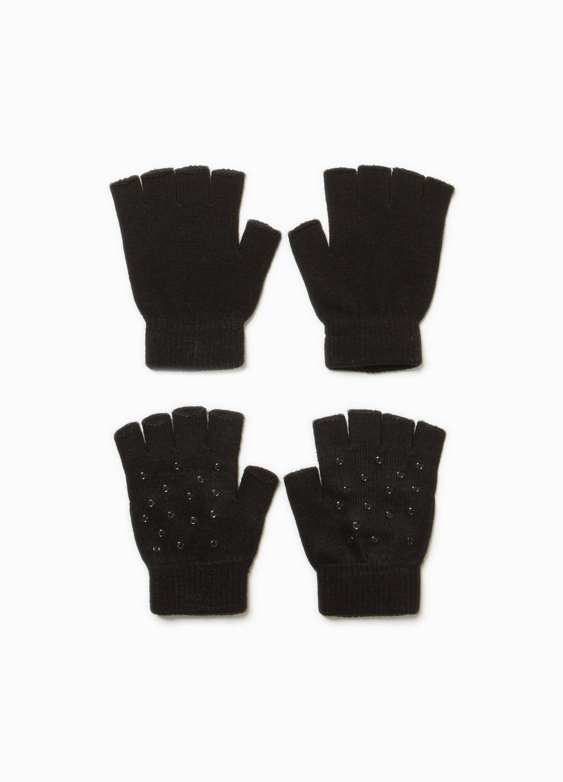 a6b226b55bb Two-pair pack fingerless gloves with studs