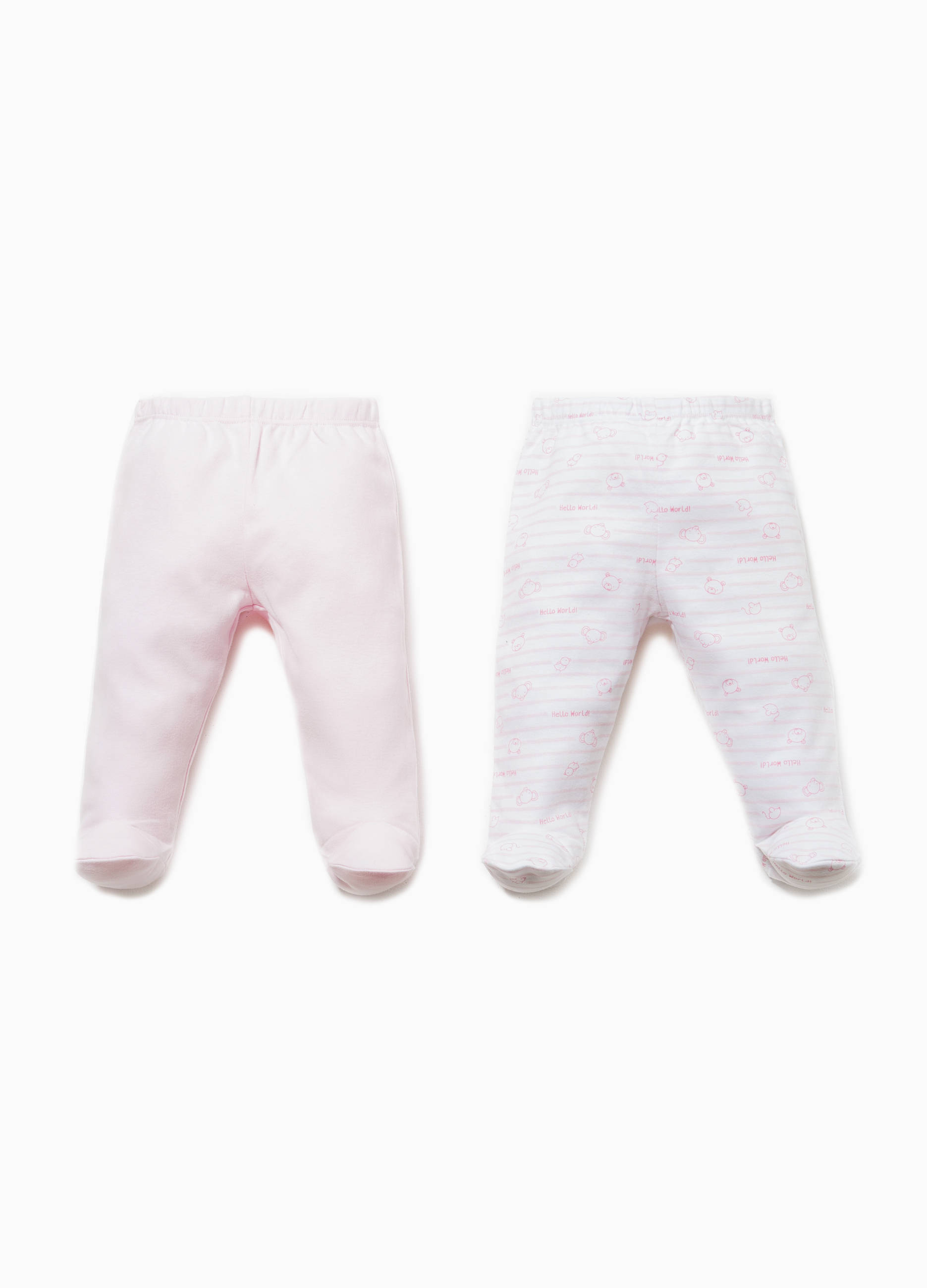 2373a8210 Two-pack solid colour and striped baby leggings in cotton | OVS