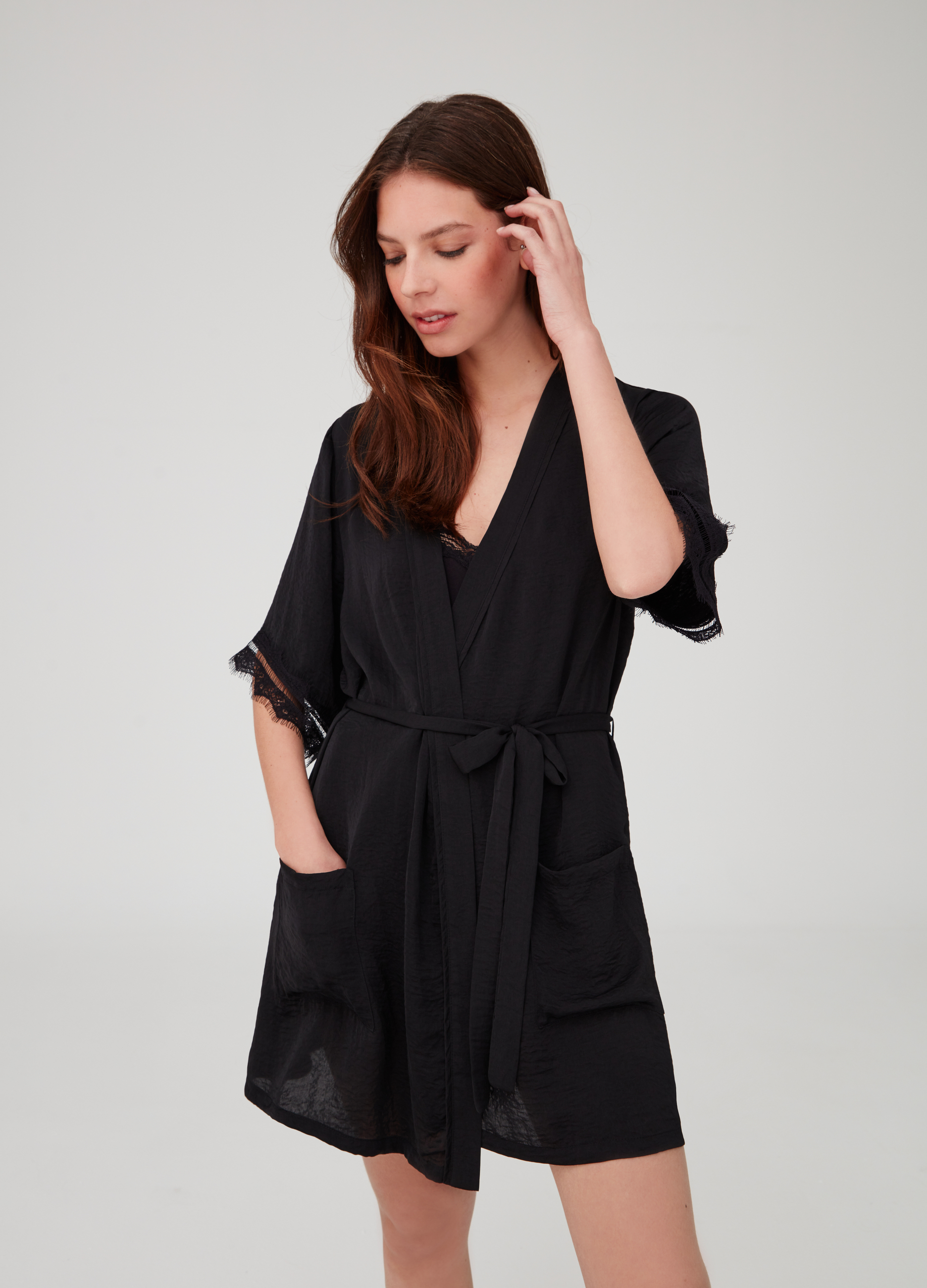 Satin Dressing Gown With Lace Trim