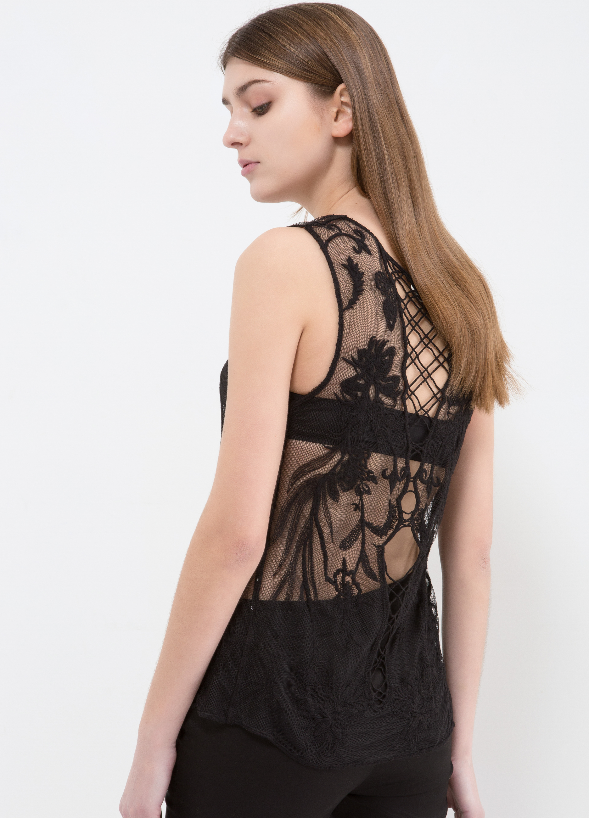 5c791cde2533b Top with sheer lace