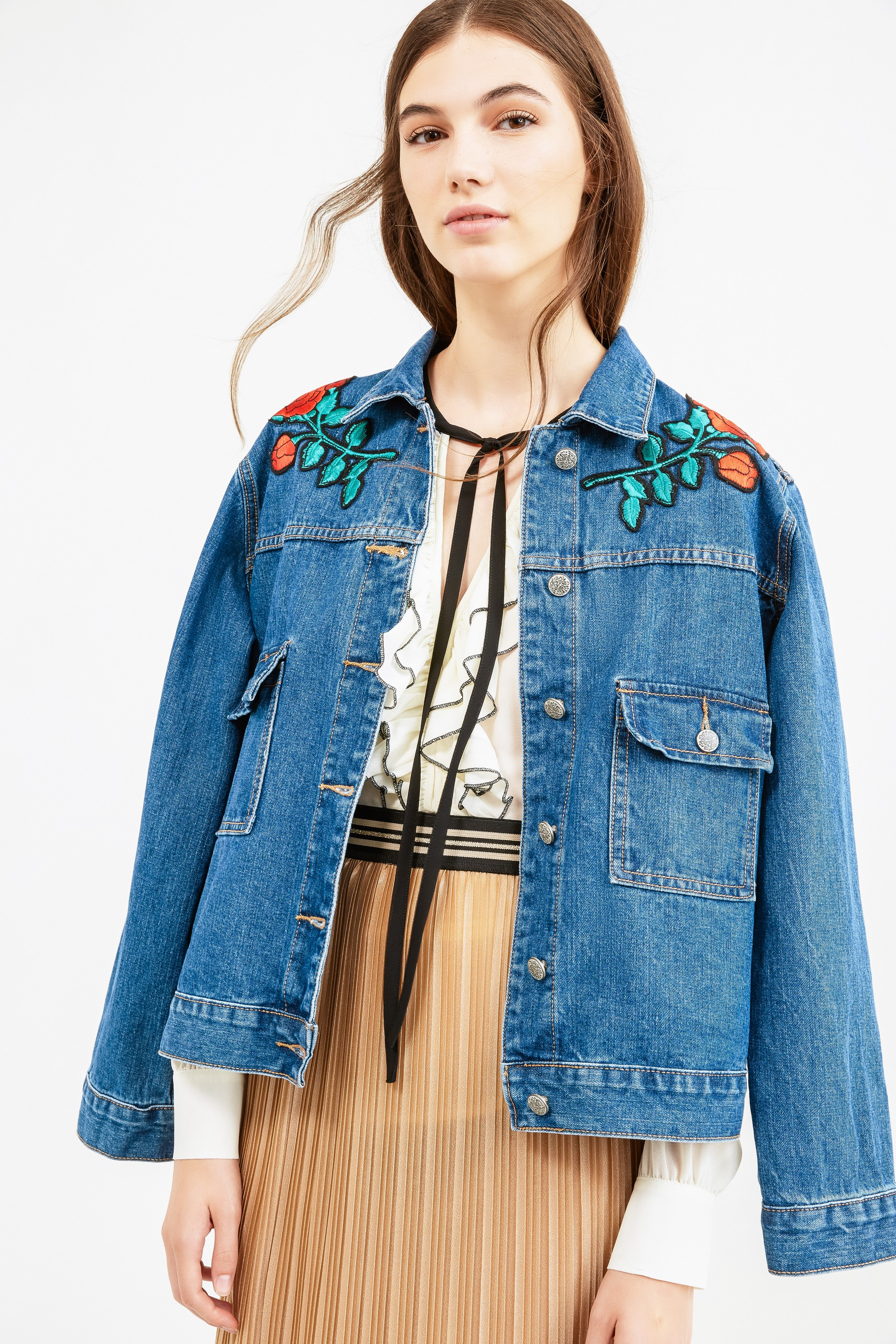 f49218ecae419 Denim jacket with patches and pockets